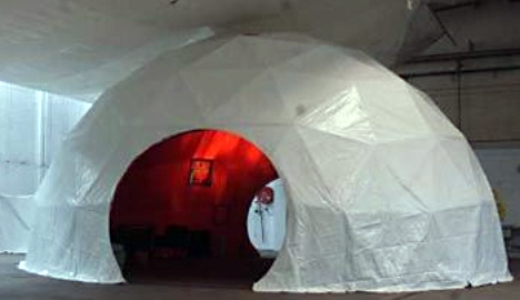 Geodesic dome with red lining